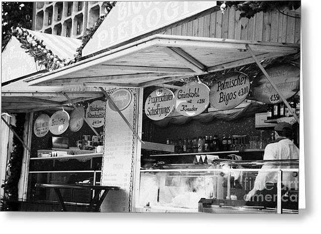 Berlin Germany Greeting Cards - meat fast food stall at the christmas market in Berlin Germany Greeting Card by Joe Fox