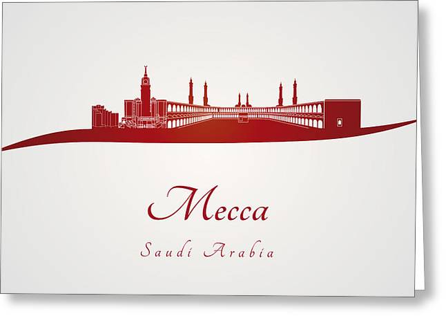 Mecca Greeting Cards - Mecca skyline in red Greeting Card by Pablo Romero