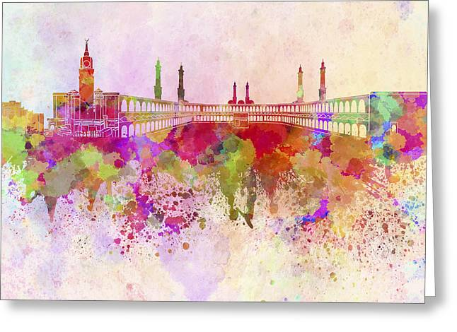 Mecca Greeting Cards - Mecca skyline in watercolor background Greeting Card by Pablo Romero