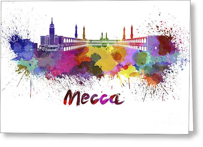Mecca Greeting Cards - Mecca skyline in watercolor Greeting Card by Pablo Romero