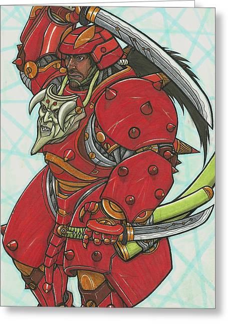 Mecha Greeting Cards - Mech Samurai Greeting Card by Eric Vargas