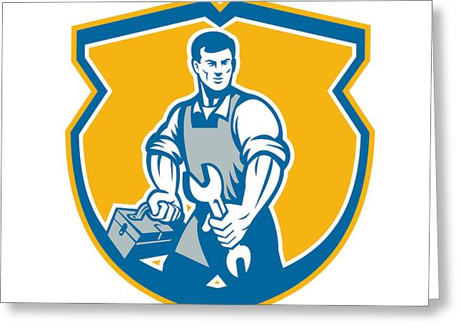 Toolbox Greeting Cards - Mechanic Holding Spanner Wrench Toolbox Crest Retro Greeting Card by Aloysius Patrimonio