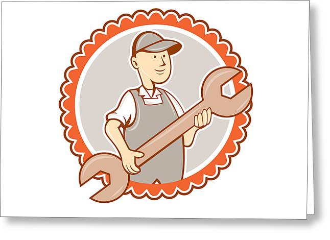 Mechanic Spanner Wrench Rosette Cartoon Greeting Card by Aloysius Patrimonio