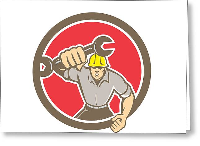 Fist Pump Greeting Cards - Mechanic Spanner Wrench Running Circle Retro Greeting Card by Aloysius Patrimonio