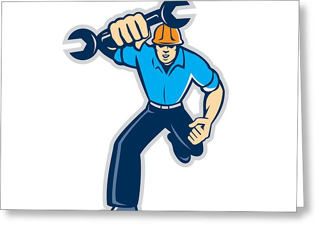 Fist Pump Greeting Cards - Mechanic Spanner Wrench Running Retro Greeting Card by Aloysius Patrimonio