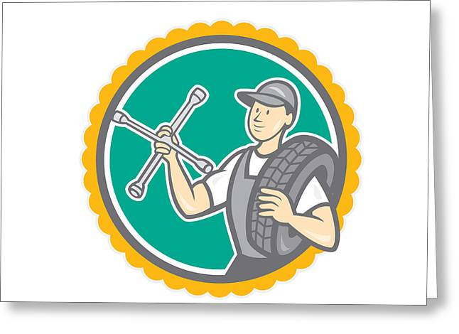Rosette Greeting Cards - Mechanic With Tire Wrench Rosette Cartoon Greeting Card by Aloysius Patrimonio