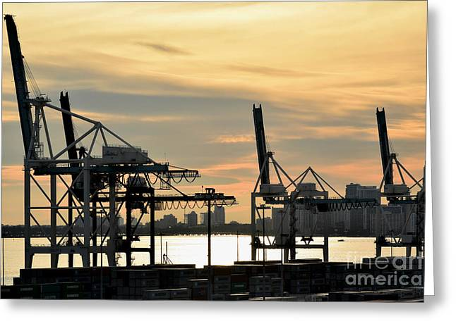 Davit Greeting Cards - Mechanical Arms In Morning Light Greeting Card by Gary Smith
