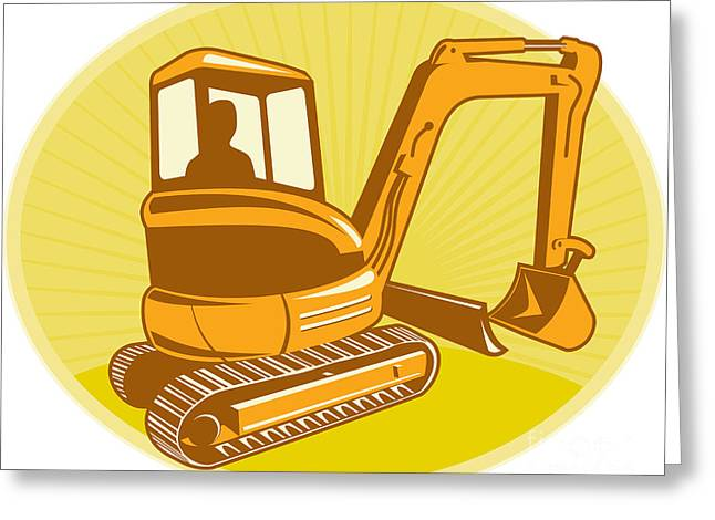 Mechanical Digger Excavator Retro Greeting Card by Aloysius Patrimonio