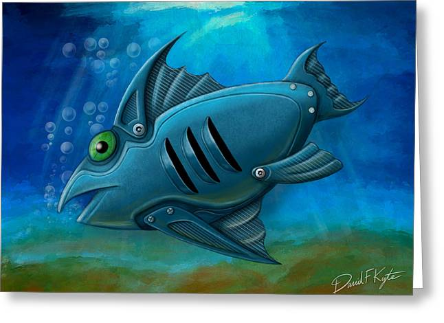 Fish Digital Greeting Cards - Mechanical Fish 4 Greeting Card by David Kyte