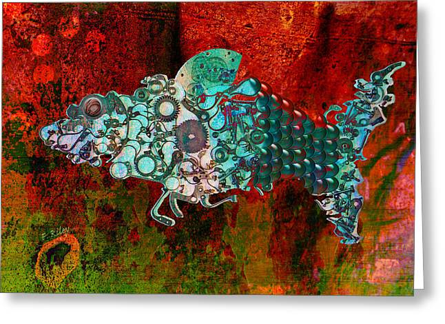 Francis Greeting Cards - Mechanical - Fish Greeting Card by Fran Riley