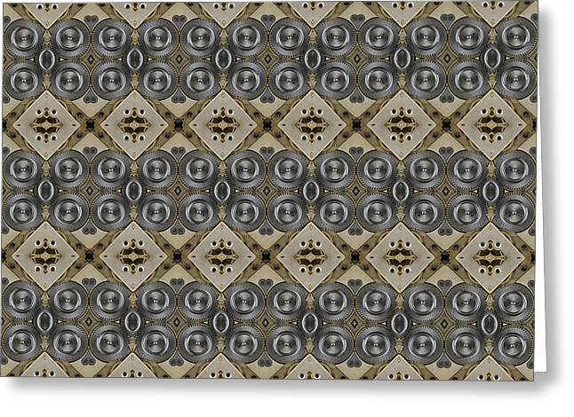 Industrial Icon Digital Art Greeting Cards - Mechanical Gears Pattern Background Greeting Card by Nenad  Cerovic