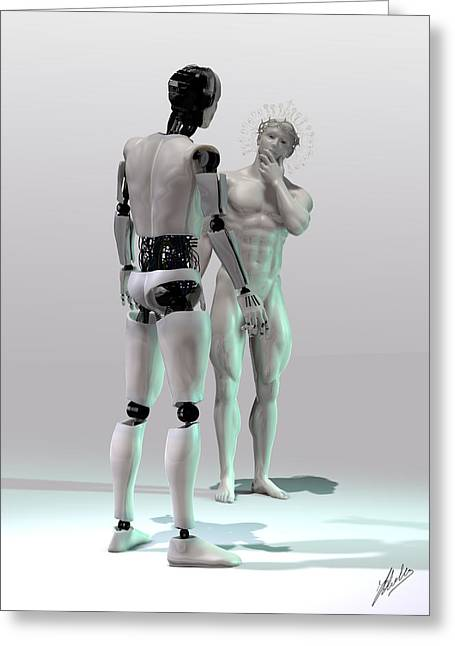 Muscular Digital Art Greeting Cards - Mechanical Gods creation Greeting Card by Joaquin Abella