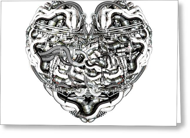 Component Mixed Media Greeting Cards - Mechanical Heart with brain Greeting Card by Diuno Ashlee