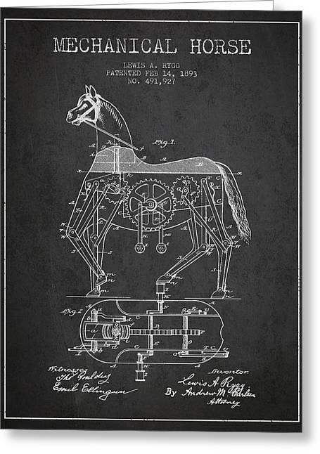 Horse Drawings Greeting Cards - Mechanical Horse Patent Drawing From 1893 - Dark Greeting Card by Aged Pixel