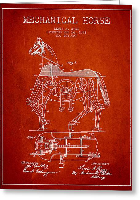 Horse Drawings Greeting Cards - Mechanical Horse Patent Drawing From 1893 - Red Greeting Card by Aged Pixel