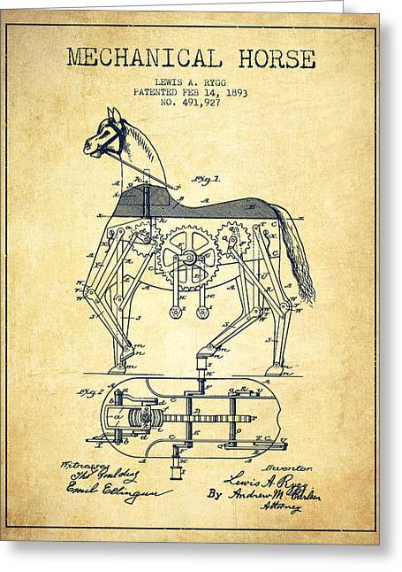 Horse Drawings Greeting Cards - Mechanical Horse Patent Drawing From 1893 - Vintage Greeting Card by Aged Pixel