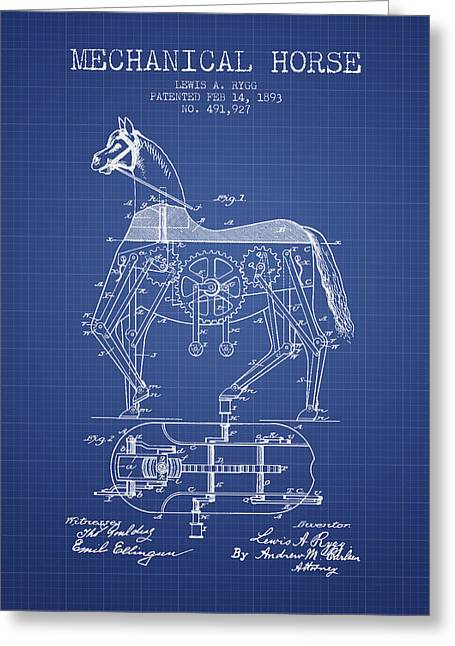 Horse Drawings Greeting Cards - Mechanical Horse Patent From 1893- Blueprint Greeting Card by Aged Pixel
