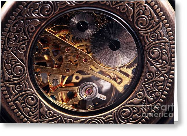 Clock Hands Greeting Card featuring the photograph Mechanical by John Rizzuto