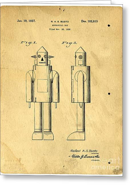 Invention Photographs Greeting Cards - Mechanical Man Patent Greeting Card by Edward Fielding