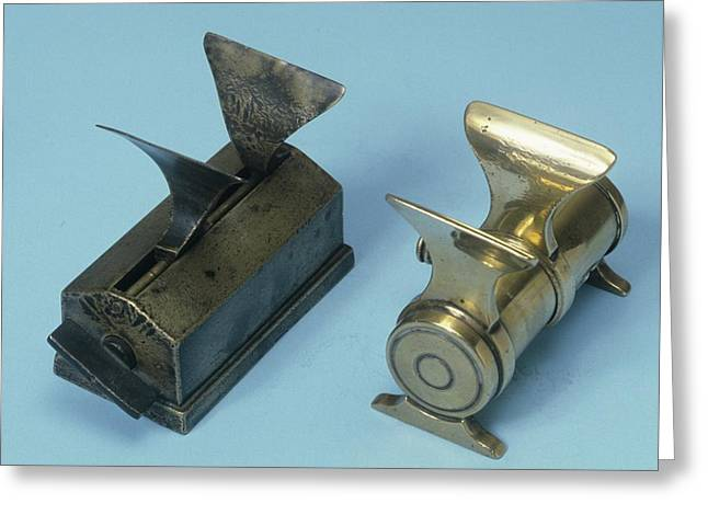 Mechanical Powder Folders Greeting Card by Science Photo Library