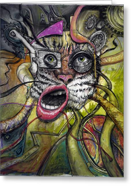 Gear Paintings Greeting Cards - Mechanical Tiger Girl Greeting Card by Frank Robert Dixon