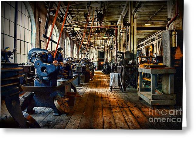 Belt Driven Greeting Cards - Mechanical Works Greeting Card by Paul Ward
