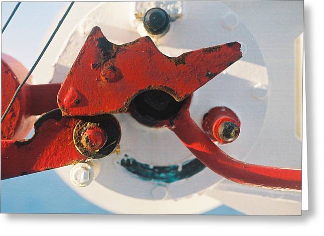 Davit Greeting Cards - Mechanisms Lifeboat Davit Greeting Card by Howard Dratch