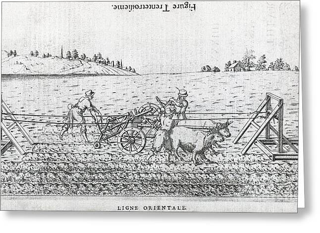 1500s Greeting Cards - Mechanized Plow, 16th Century Artwork Greeting Card by Middle Temple Library