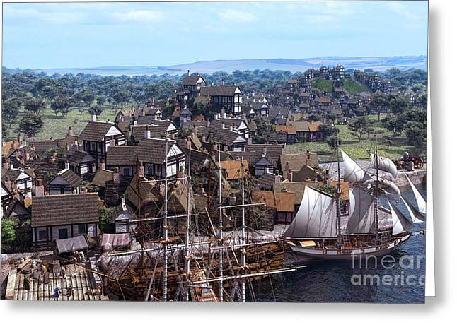 Pirate Ship Digital Greeting Cards - Med Village Greeting Card by Dominic Davison