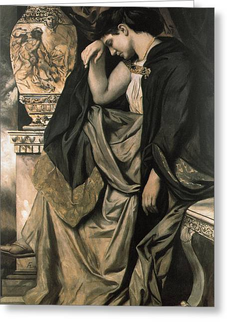 Tearful Greeting Cards - Medea Greeting Card by Anselm Feuerbach