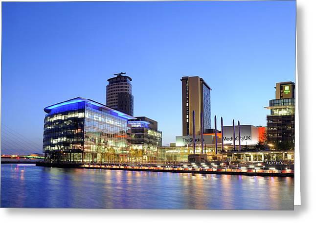 Norman Pogson Greeting Cards - Media City Salford Manchester UK Greeting Card by Norman Pogson
