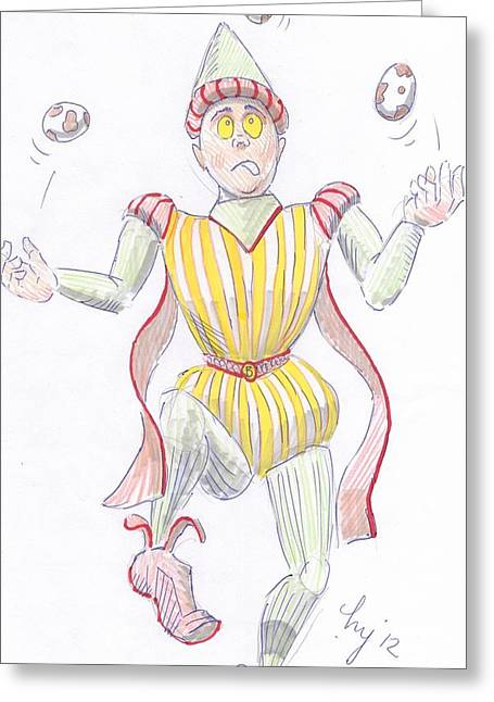 Juggling Drawings Greeting Cards - Baryon cartoon Greeting Card by Mike Jory