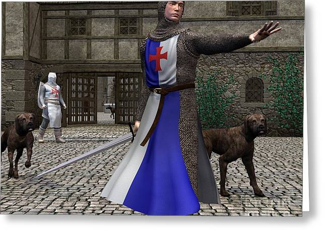 Coif Greeting Cards - Mediaeval or Norman Knights guarding a castle gate Greeting Card by Fairy Fantasies