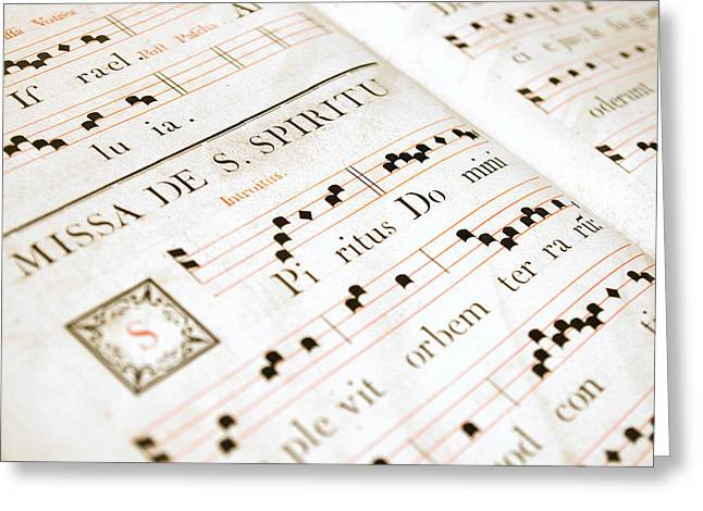 Hymns Greeting Cards - Mediavel chorus book  Greeting Card by Fabrizio Troiani