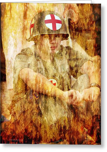 Medic Ww II Us Army Greeting Card by Thomas Woolworth