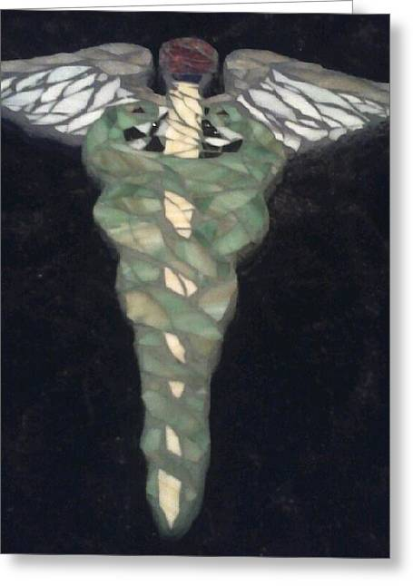 Medical Glass Greeting Cards - Medical Caduceus  Greeting Card by Lisa Collinsworth