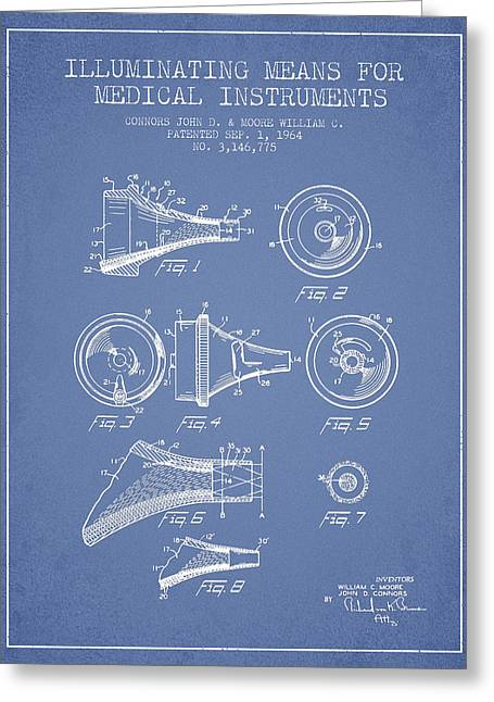 Medical Greeting Cards - Medical Instrument Patent from 1964 - Light Blue Greeting Card by Aged Pixel