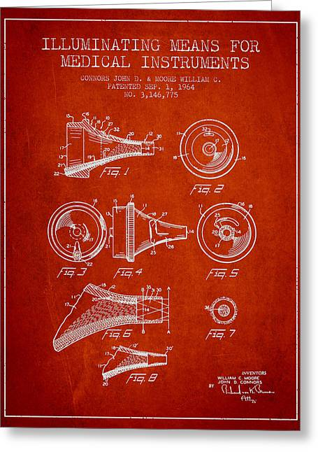 Medical Greeting Cards - Medical Instrument Patent from 1964 - Red Greeting Card by Aged Pixel