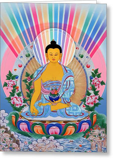 Recently Sold -  - Tibetan Buddhism Greeting Cards - Medicine Buddha 1 Greeting Card by Lanjee Chee