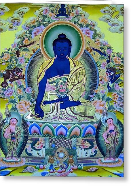Recently Sold -  - Tibetan Buddhism Greeting Cards - Medicine Buddha 3 Greeting Card by Lanjee Chee