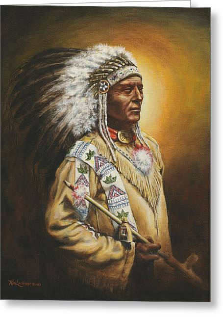 Indian Warriors Greeting Cards - Medicine Chief Greeting Card by Kim Lockman