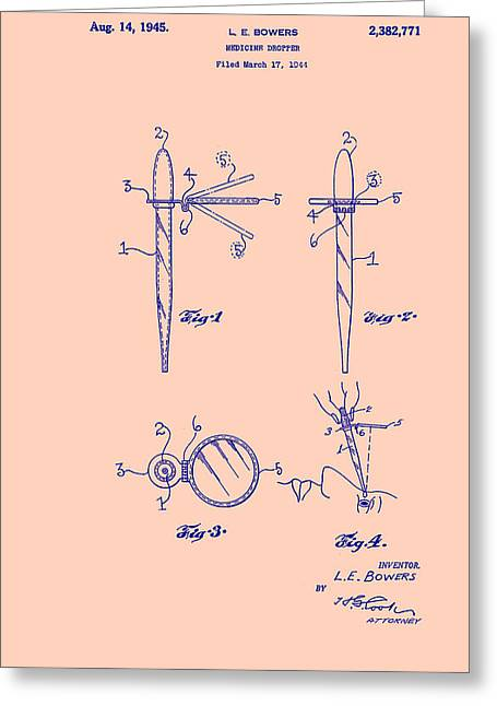 Art Product Drawings Greeting Cards - Medicine Dropper Patent Greeting Card by Mountain Dreams