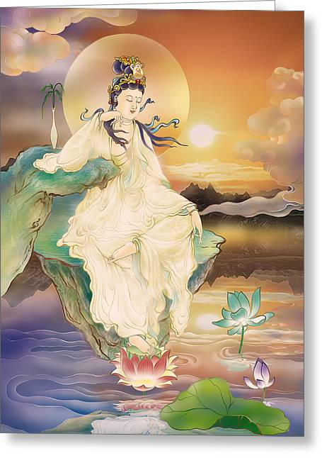Kuan Greeting Cards - Medicine-giving Kuan Yin Greeting Card by Lanjee Chee