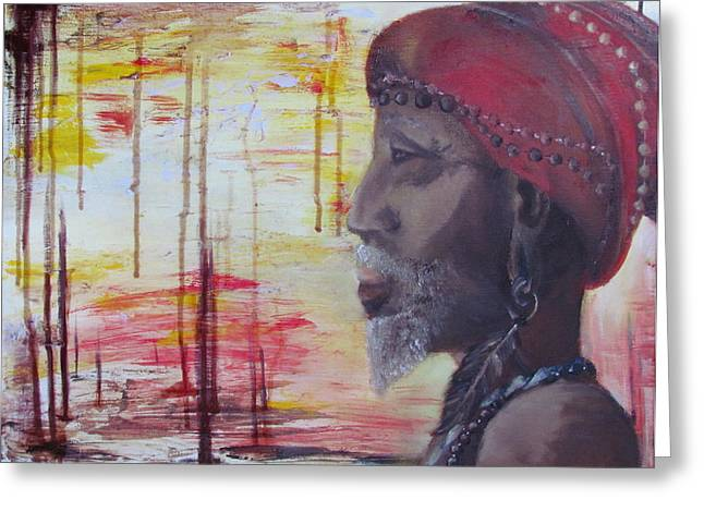 Morphed Paintings Greeting Cards - Medicine Man Greeting Card by Casey Pretzeus