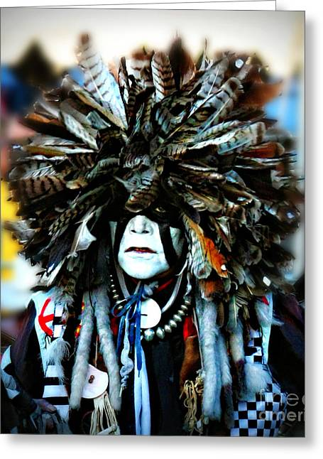 Fancy-dancer Greeting Cards - Medicine Man Headdress Greeting Card by Scarlett Images Photography