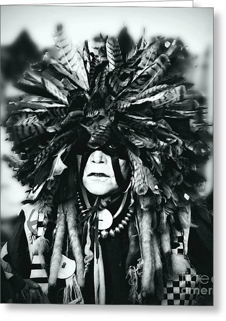 Fancy-dancer Greeting Cards - Medicine man silver screen Greeting Card by Scarlett Images Photography