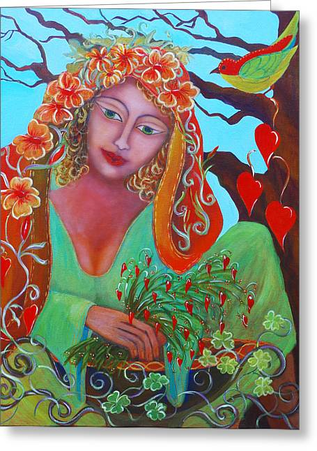 St. Briget Greeting Cards - Medicine Woman Greeting Card by Donna Parker