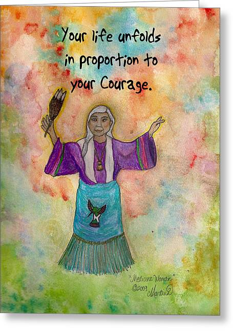 Wise Woman Greeting Cards - Medicine Woman Greeting Card by Martina Schmidt