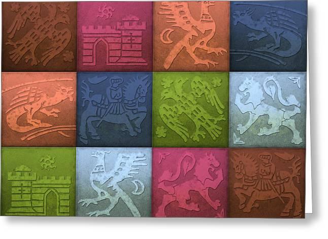 Medieval 12-tile Collage Spring Colors Greeting Card by S L Kellaway