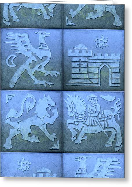 Knights Castle Paintings Greeting Cards - Medieval 8-Tile Collage Blue Greeting Card by S L Kellaway